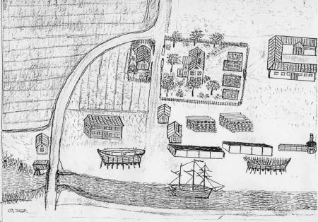 Tenggrenstorps varv. Odaterad teckning av bryggarmästare Oscar West, så som han såg det. Till vänster Gropbron över Karls grav.På land ser man två båtar under byggnad, och till höger skymtar baskistan, i vilken man värmde virket till bordläggningen.